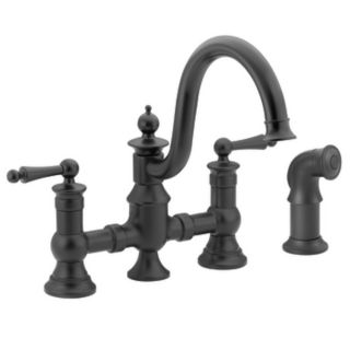 Moen Waterhill Wrought Iron 2 Handle High Arc Kitchen Faucet with Side Spray
