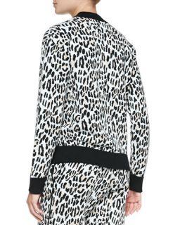 Derek Lam 10 Crosby Leopard Print Jacquard Track Shorts