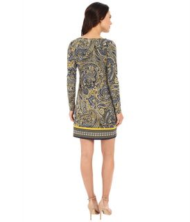 Michael Michael Kors Ashby Long Sleeve Boat Neck Border Dress Sunflower New Navy, Clothing, Navy, Michael