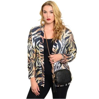 Shop The Trends Womens Plus Size Animal Print Cardigan