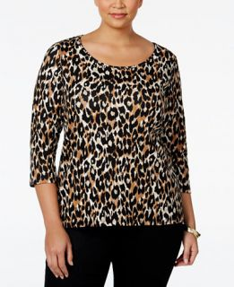 Charter Club Plus Size Animal Print Top, Only at   Tops   Plus