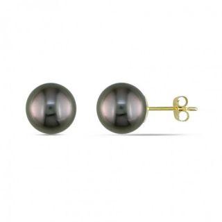 Amour 14KY 8 9mm Black Tahitian Pearl Stud Earrings Item No