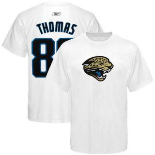Reebok Jacksonville Jaguars Historic Logo #80 Mike Thomas White Scrimmage Gear T shirt