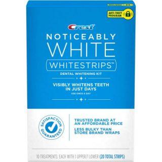 Crest Noticeably White Whitestrips Dental Whitening Kit, 20 count