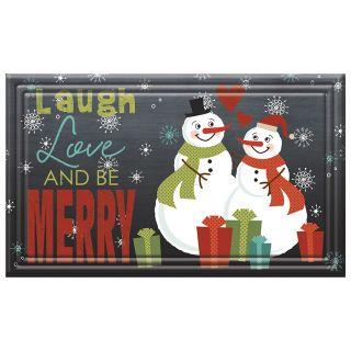 Apache Mills, Inc. Laugh Love and Be Merry Rectangular Door Mat (Common: 18 in x 30 in; Actual: 18 in x 30 in)