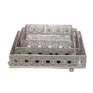 Metal 3 piece Silver Pierced Tray Set   17161860