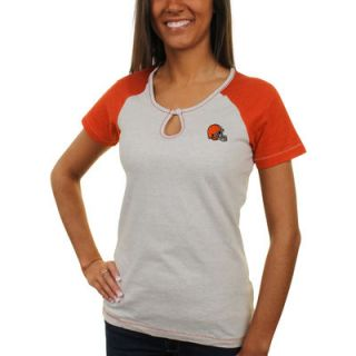Antigua Cleveland Browns Historic Logo Womens Crush Raglan T Shirt   Gray