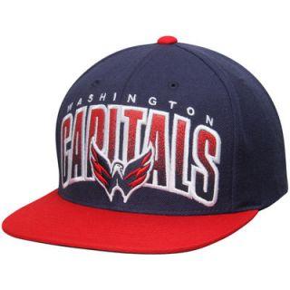 Washington Capitals Mitchell & Ness Current Logo Double Bonus Snapback Adjustable Hat   Navy/Red