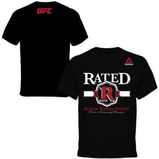 Reebok Rowdy Ronda Rousey UFC 184 Black Weigh In T Shirt