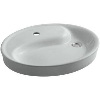 KOHLER Yin Yang Drop In Vitreous China Bathroom Sink in Ice Grey with Overflow Drain K 2354 1 95