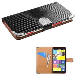 Insten Black Crocodile Skin MyJacket Wallet Case Leather Case Cover with Buckle For Nokia Lumia 1320