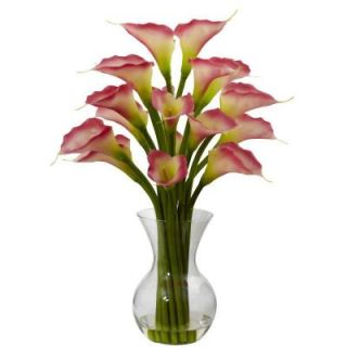 Nearly Natural Galla Calla Lily with Vase Arrangement in Pink 1299 PK