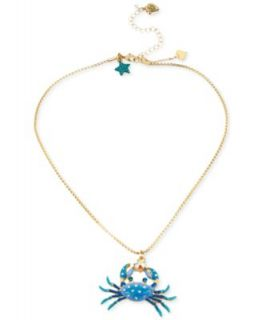 Betsey Johnson Gold Tone Embellished Crab Pendant Necklace