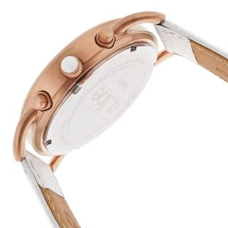 Maya Chronograph White Genuine Leather and Dial Rose Tone SS Set