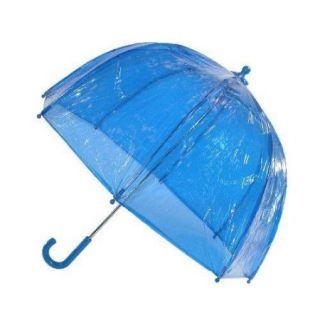 totes ISOTONER Kids Vinyl Pinch Proof Clear Bubble Umbrella, Blue