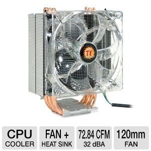 Thermaltake CLP0579 Contact 30 CPU Cooler   120mm PWM Fan, Intel Socket LGA 1366/1156/2011/775, AMD Socket AM2/AM2+/AM3, 3x 8mm Heat Pipes, Blue LED, 12V, Aluminum Fins & Extrusion Cover