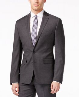 Ryan Seacrest Distinction Grey Solid Slim Fit Jacket   Suits & Suit