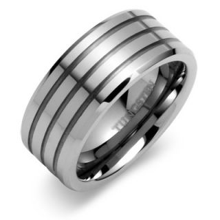 Oravo Beveled Edge Triple Grooved 9mm Comfort Fit Mens Tungsten