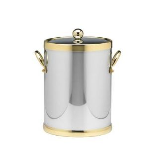 Kraftware Americano 5 Qt. Polished Chrome & Brass Ice Bucket with Brass Lid, Metal Side Handles 70142