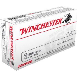 Winchester 9mm Luger 115 Grain Full Metal Jacket Bullets, 50ct