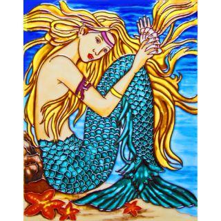 Right Mermaid Tail in Orange Tile Wall Decor by Continental Art Center