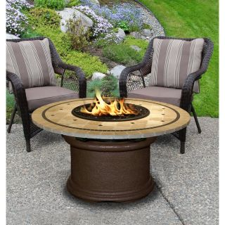 California Outdoor 2010 CB PG10 LAG 48 Del Mar Brown Base Chat Height Fire Pit with Black Reflective Glass and 48 Laguna Mosaic