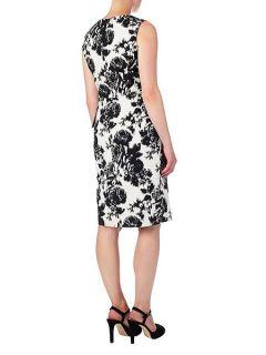Phase Eight Karen tie waist jacquard dress Black/White