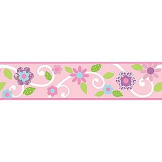 RoomMates Dena Floral Scroll Peel and Stick Border, Pink, 180 L x 4 1/2 H
