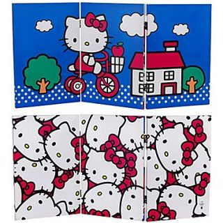 Oriental Furniture 23.75 x 47.25 Tall Double Sided Hello Kitty Bicycle 3 Panel Room Divider