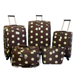 Jenni Chan Dots Brown / Green 5 piece Spinner Luggage Set