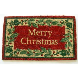 Geo Crafts Holly border Merry Christmas Doormat