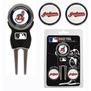 Team Golf MLB Cleveland Indians Divot Tool Pack With 3 Golf Ball Markers