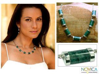 Sweet Maya Modern Handmade Artisan Green Jade Pendants on Bone Chain