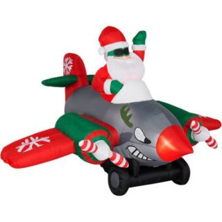 Animated Airblown Inflatable Santa in Twin Prop Airplane Christmas Decor, 6.5' Long