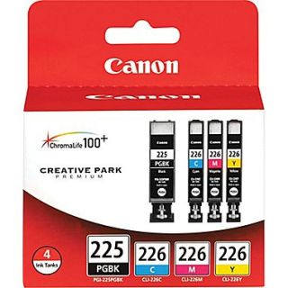 Canon PGI 225BK Black and CLI 226 C/M/Y Color Ink Cartridges (4530B008), Combo 4/Pack