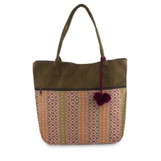 Handcrafted Cotton Quiet Maya Rose Tote Handbag (Guatemala