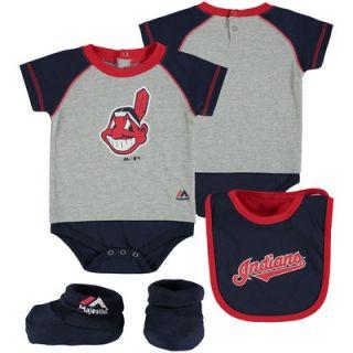 Cleveland Indians Majestic Infant Little Player Bodysuit, Bib & Bootie Set   Navy