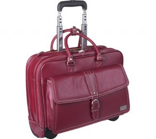 Womens Clark & Mayfield Stafford Rolling Laptop Tote 17.3   Deep Crimson Red