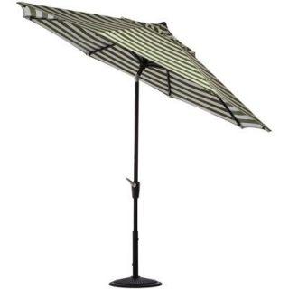 Home Decorators Collection 11 ft. Auto Tilt Patio Umbrella in Maxim Cilantro Sunbrella with Black Frame 1549730630