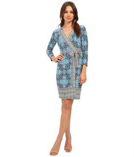 Donna Morgan 3/4 Sleeve Wrap Matte Jersey Dress Sky Blue Multi