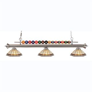 Z Lite 170BN Z14 35 Shark 3 Light Billiard Light with Multi Colored Glass Shades