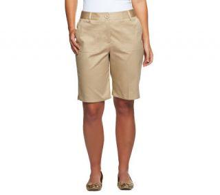 Susan Graver Weekend Washed Cotton Twill Bermuda Shorts —