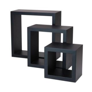 AZ Home and Gifts nexxt Cubbi 9 in. MDF Wall Shelf in Black (3 Piece) PN09263 3INT