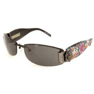 Ed Hardy Ehs 020 Black Solid Grey Skull Butterflies Sunglasses