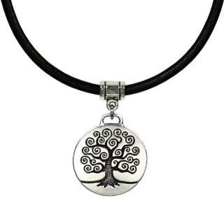 Jewelry by Dawn Unisex Round Pewter Tree Of Life Greek Leather