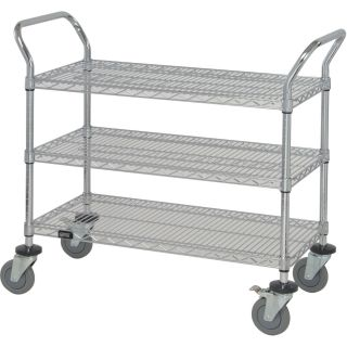 Quantum Wire Shelving Mobile Utility Cart — 3 Shelves, 18in.W x 42in.L x 38in.H, Model# WRC-1842-3  Mobile Wire Shelving   Carts