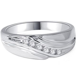 Mens 14K White Gold 1/4ct Diamond Wedding Ring Band New