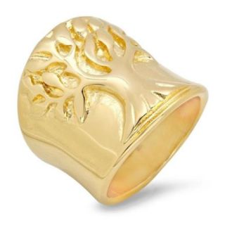 Stainless Steel Yellow Gold Tone Tree of Life Band Ring Wide