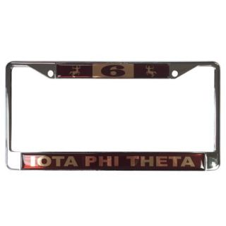 Iota Phi Theta #6 Line Number Silver License Plate Frame