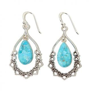 Studio Barse Sterling Silver Heart Motif Turquoise Drop Earrings   7979293
